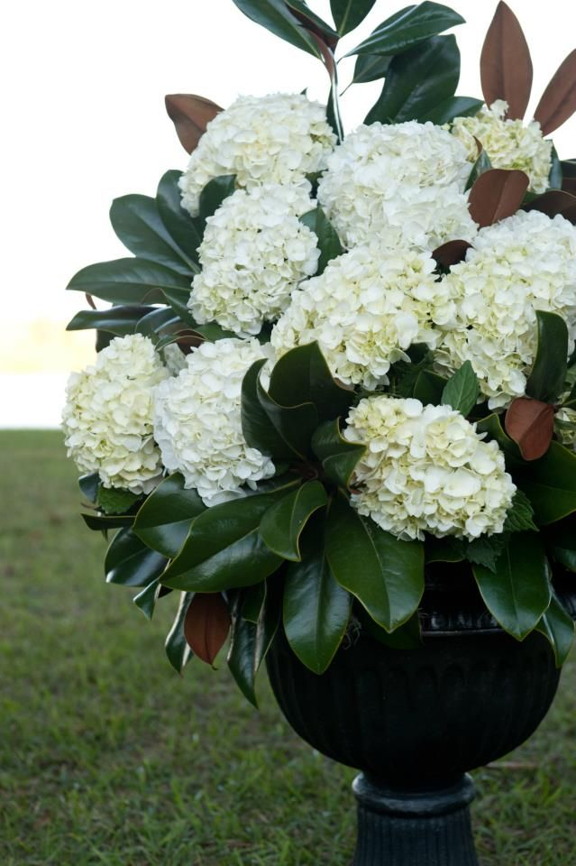 Altar Arrangements Of White Hydrangeas And Magnolia Greenery