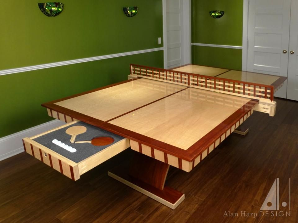 Custom Curly Maple And Padauk Ping Pong Table Furniture