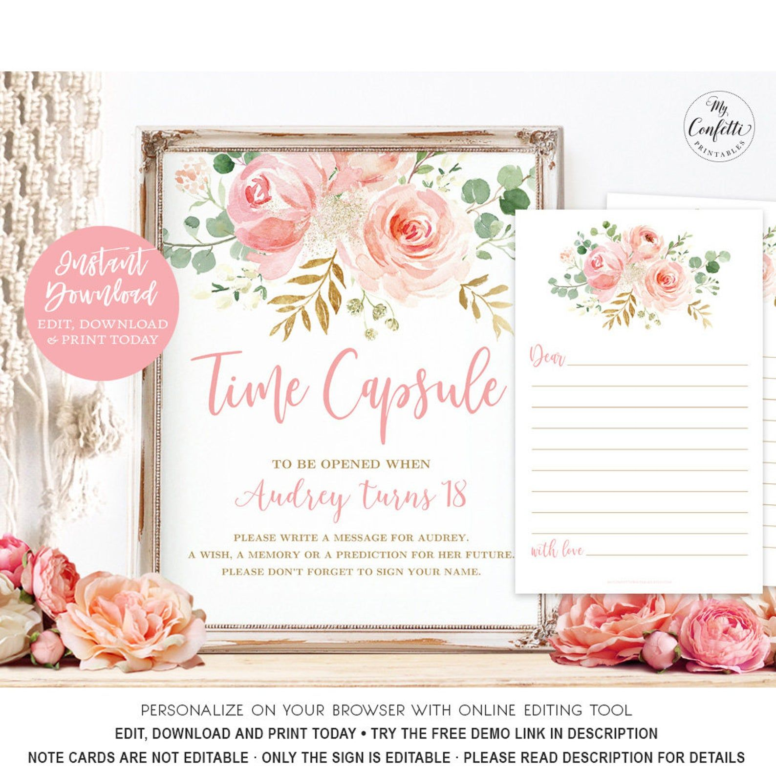 Time Capsule Sign And With Matching Printable Message