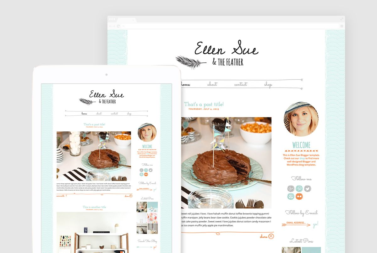 Cute WordPress Blog Theme - Ellen by Mlekoshi Design Concept on @creativemarket
