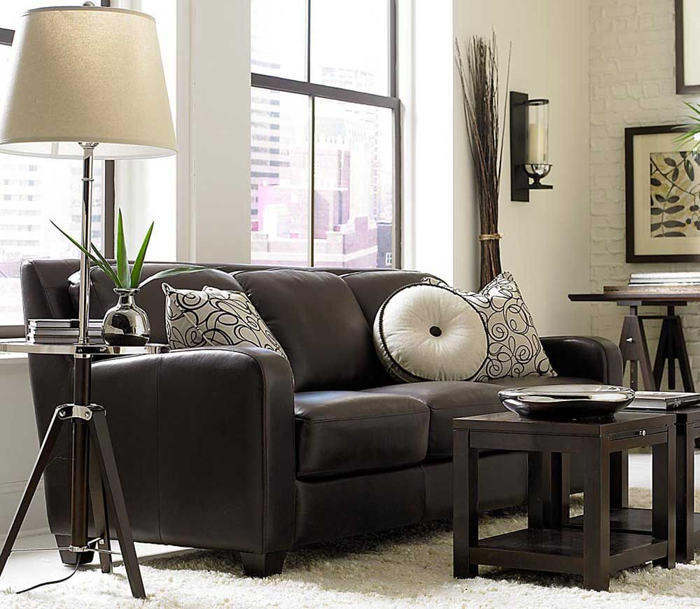 Dark chocolate classic sofa with pillow decor - Black and brown living room furniture ...