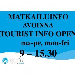 MATKAILUINFO AVOINNA TOURIST INFO OPEN ma-pe, mon-fri 9 – 15.30   YHTEYSTIEDOT/ CONTACT NUMBER +358(0) 40 189 2050 Info.visit@kemijarvi.fi, www.visitkemij. http://slidehot.com/resources/kemijaervi-lapland-finland.36656/