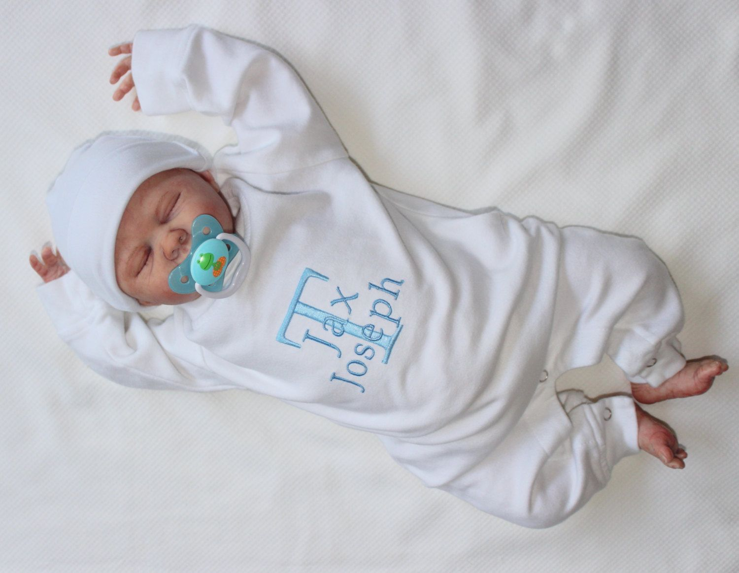 Baby boy going home outfit personalized with name coming