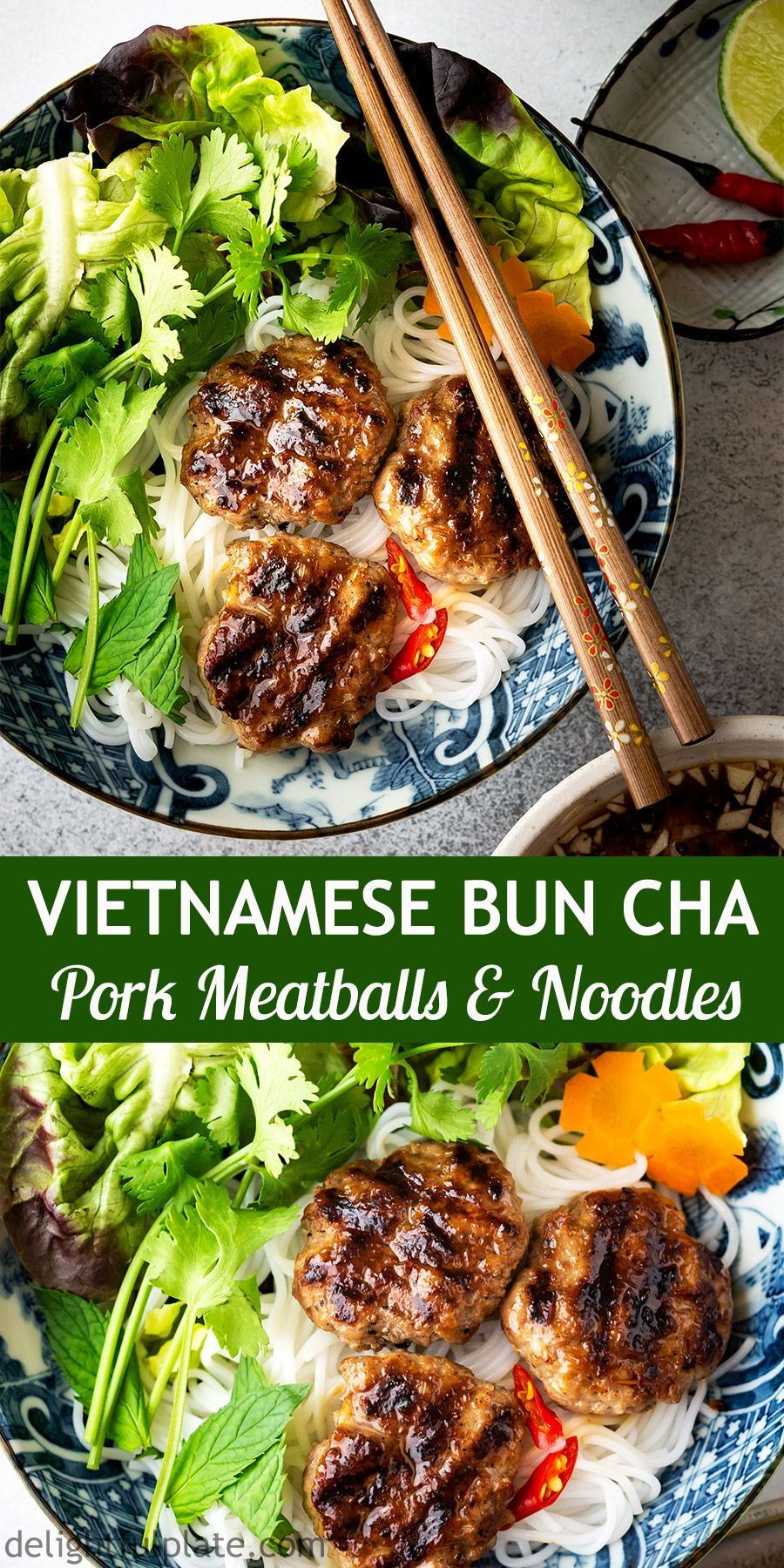 Authentic Bun Cha recipe (Vietnamese Grilled Pork Meatballs with Vermicelli Noodles). Bun Cha features flavorful and juicy pork meatballs, vermicelli noodles, lettuce, refreshing herbs and traditional lime fish sauce dipping.     vietnamesegrilledpork #vietnamesecuisine #vietnamesenoodle #vietnameserecipes #vermicellinoodles #asiannoodles #charecipe #asiannoodlerecipes #asianrecipes