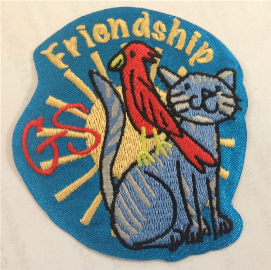GS Friendship Iron-on Fun Patch - Cat and Bird On clearance for only $0.99!
