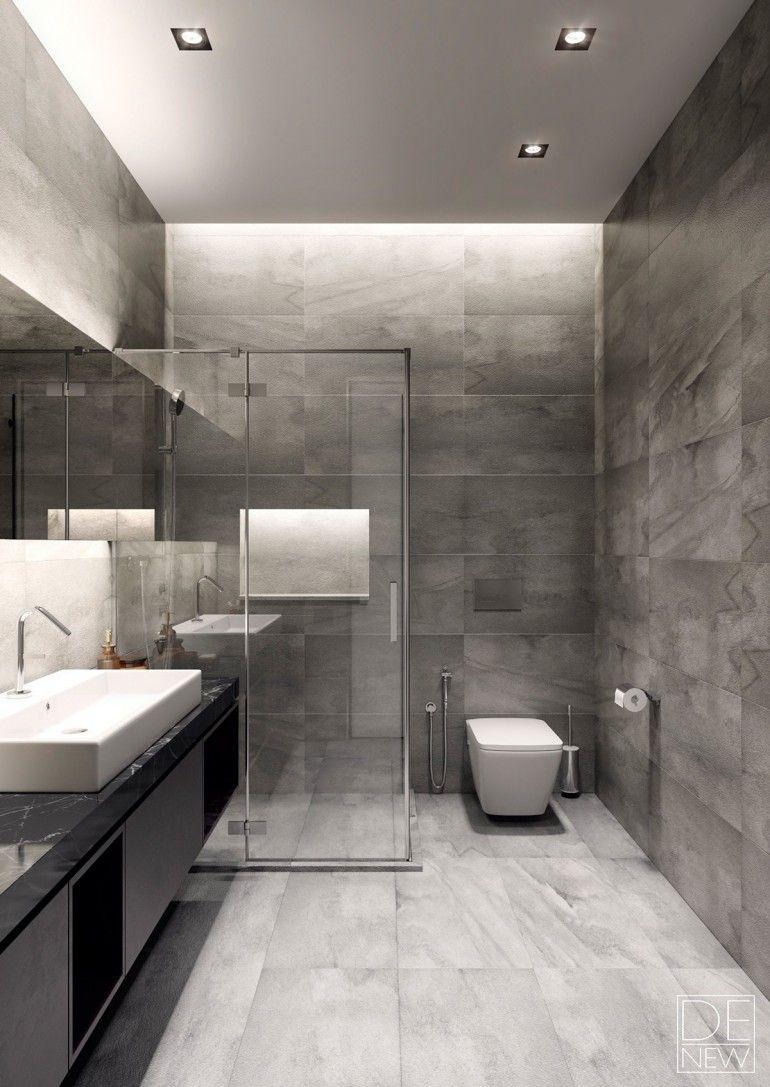 Moderne Inneneinrichtung · Skandinavische Inneneinrichtung · Scandinavian  Style · Graue Badezimmer · Two Apartments With Texture: One Soft, One Sleek