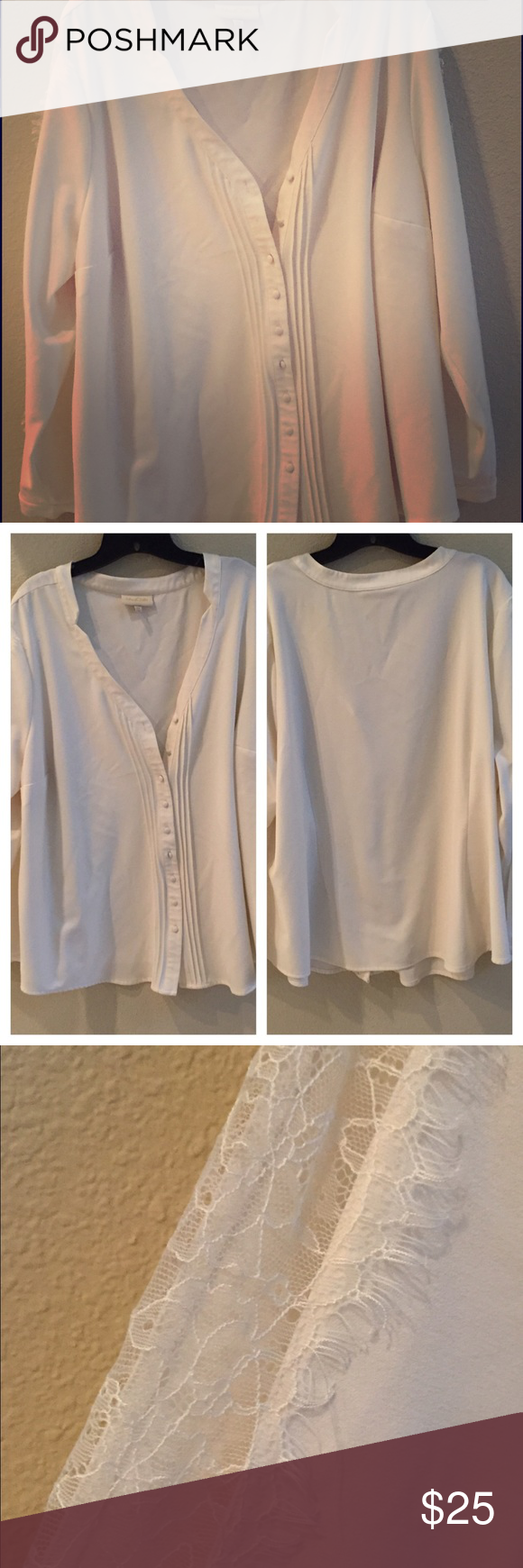 Sheer Madness Blouse Adorbs long sleeve cream top. Sleeves have a peek a boo lace running down the side. ModCloth Tops Blouses