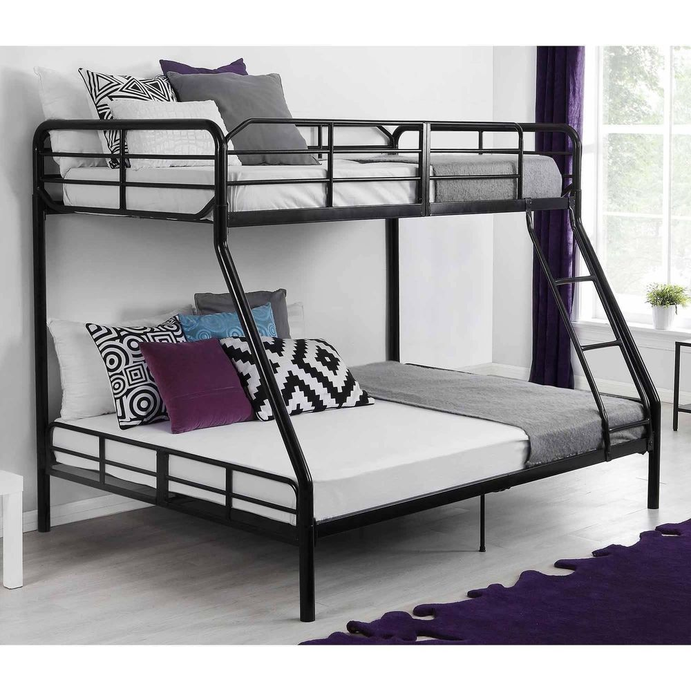 Details About Twin Over Full Metal Bunk Bed W Ladder Kids Bedroom