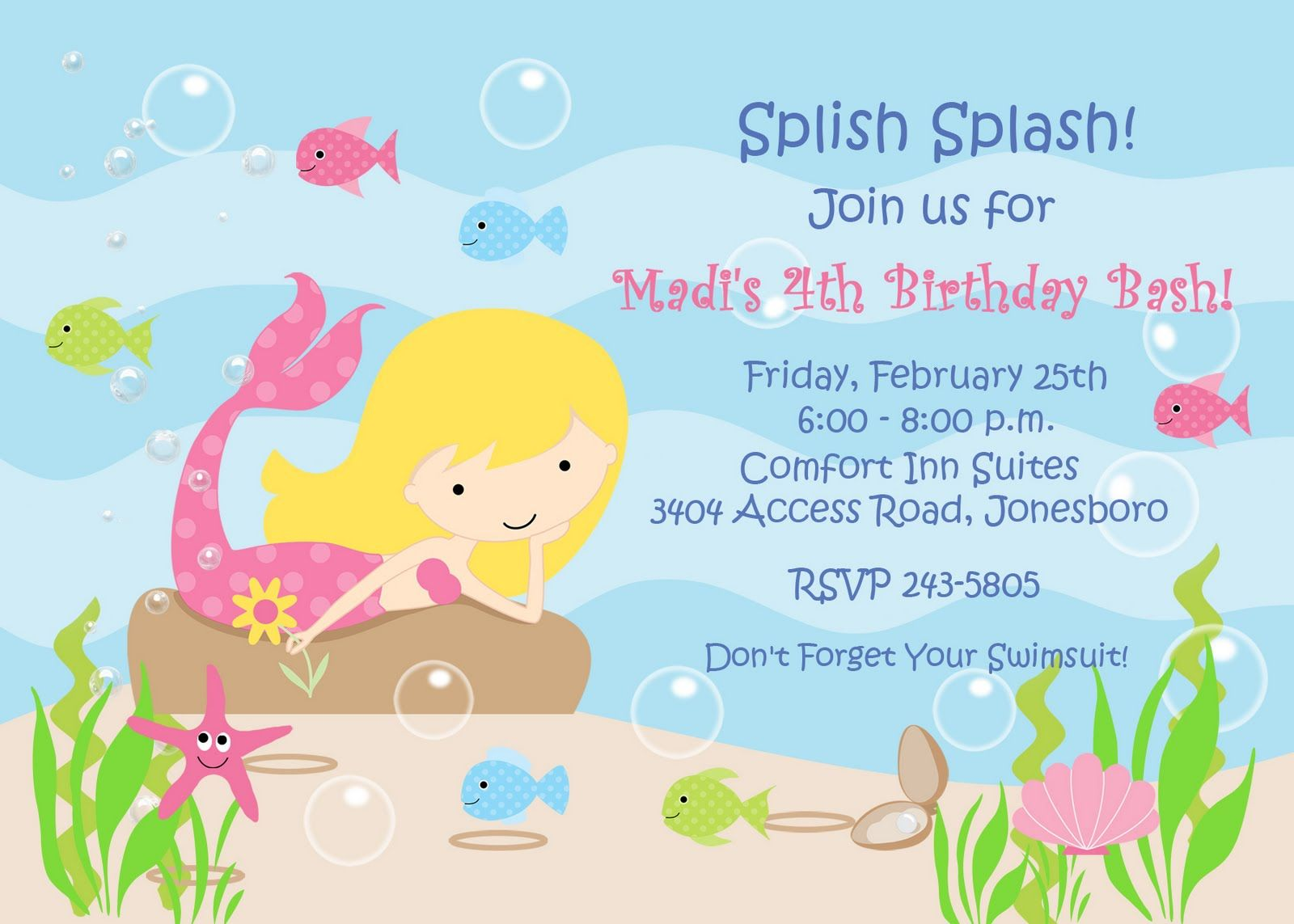 little mermaid birthday invitation template - Little Mermaid Party Invitations