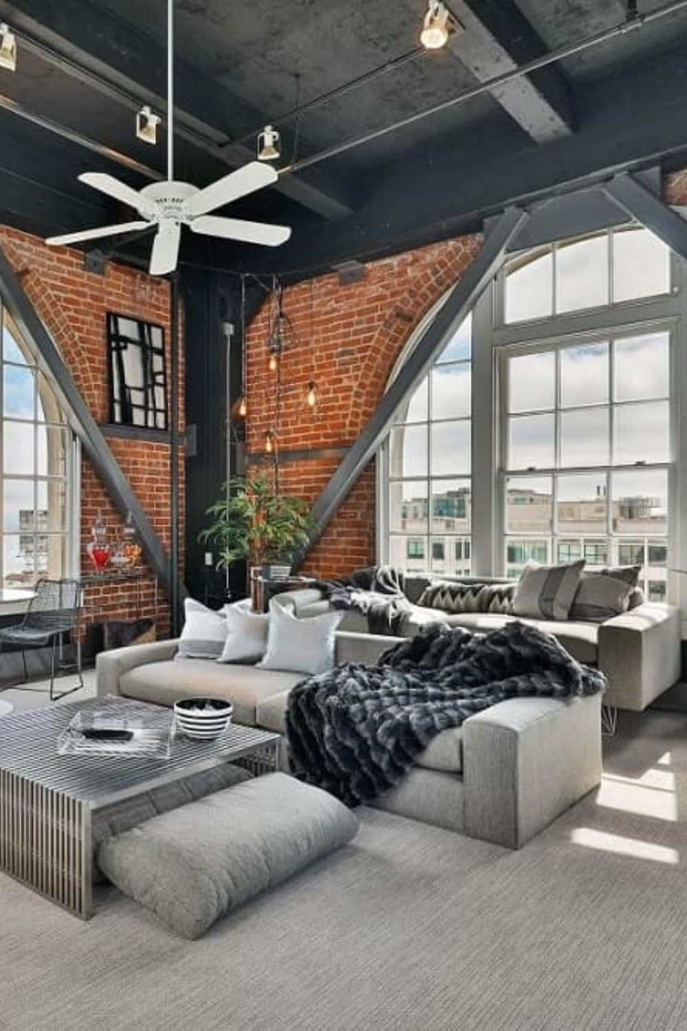 This Living Room Uses An Industrial Style Aesthetic From The Dark