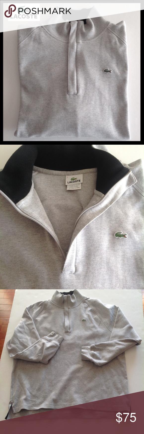 "LACOSTE Half Zip Pullover LACOSTE Half Zip Pullover. Lacoste size ""7"" is size XL. See size chart in last photo. Excellent Condition. Lacoste Shirts Sweatshirts & Hoodies"