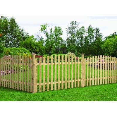 4 Ft H X 8 Ft W Pressure Treated Pine Spaced Arched Top Fence Panel 130702 The Home Depot Wood Picket Fence Fence Panels Outdoor Essentials