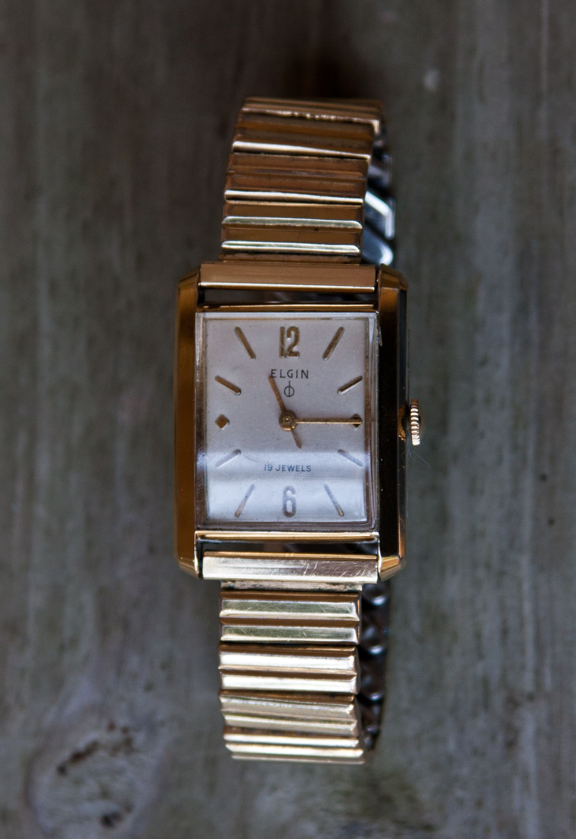 1959 Elgin Tank. This watch includes Elgin's 19 jewel 752 movement with the  DuraBalance mechanism