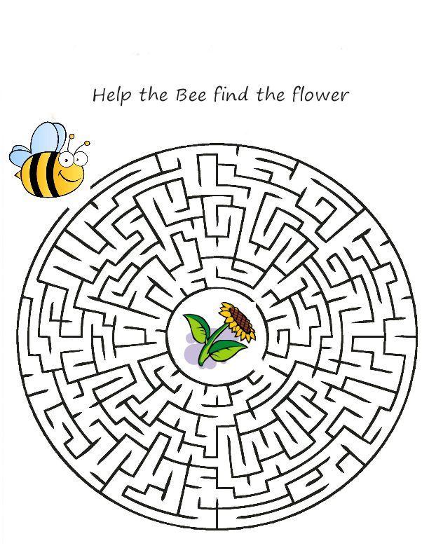 Http Www Sparklystars Com Wp Content Uploads 2013 03 Bee Round Jpg Printable Mazes Maze Bee Printables