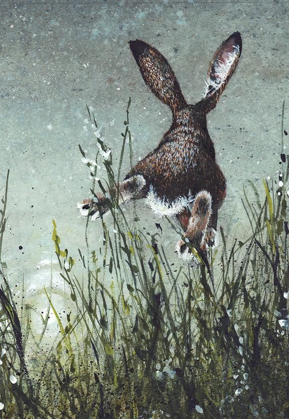 "Photo of Watercolor Greeting Card, ""Airborne"" Rabbit Leaping Over Grass (comes with envelope)"