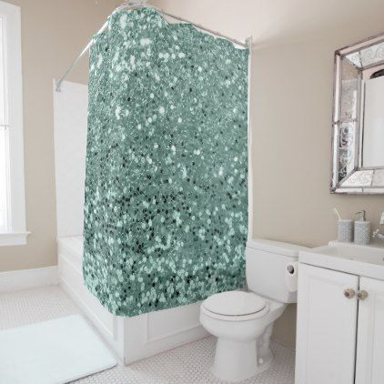 Mint Green Aqua Tiffany Faux Glitter Sequin Glam Shower Curtain