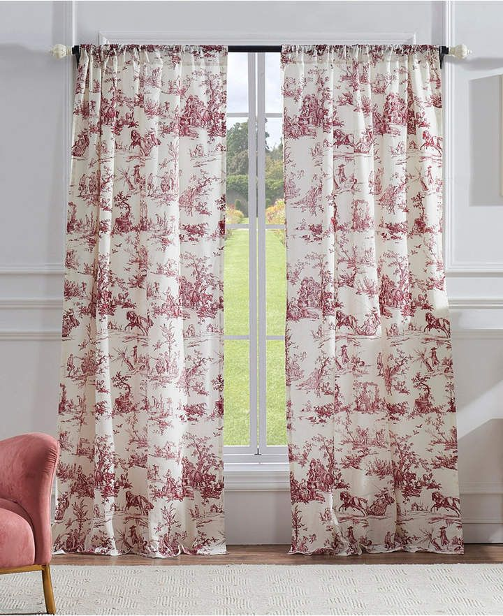 Classic Toile Window Panel Pair Red Curtains Panel Curtains