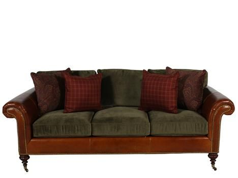 Lauren Ralph Lauren Langholm Thornhill Leather Fabric Sofa Sofa Fabric Sofa Mathis Brothers Furniture