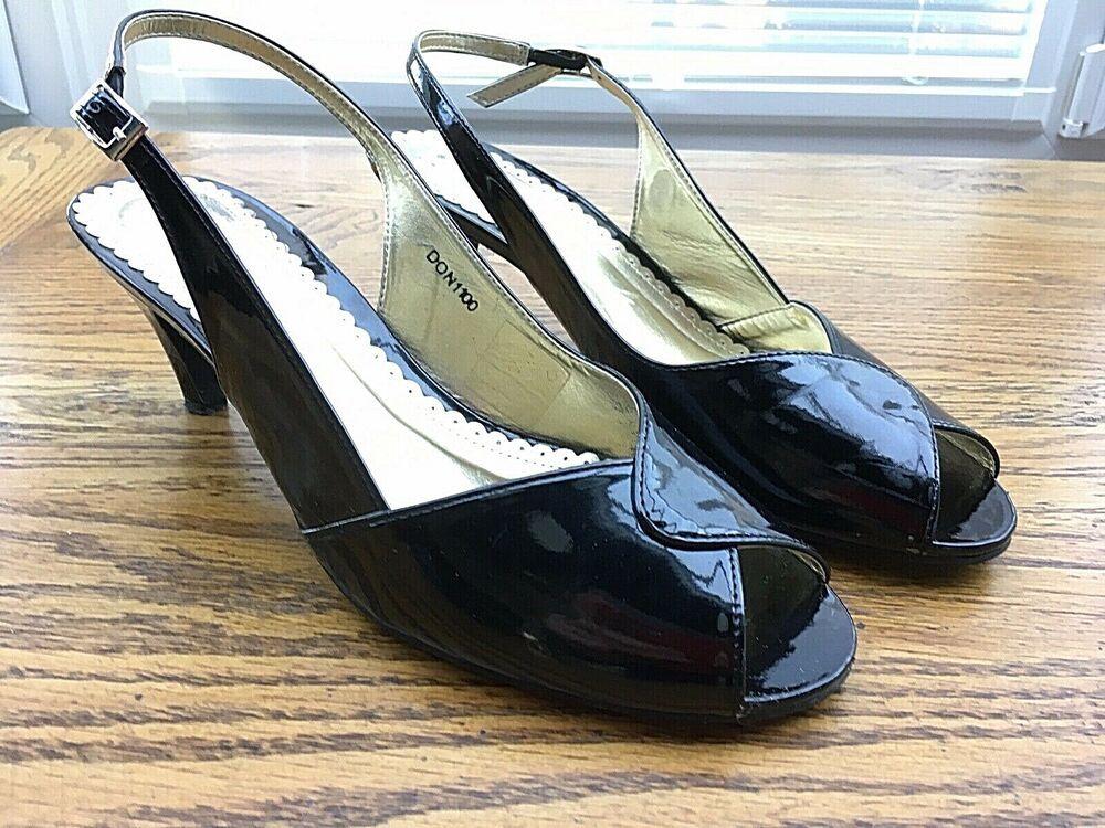 Pavers Black Patent Size 7 40 Sandal Slingback Peep Toe Kitten Heel Kitten Heels From Ebay Uk Kittenheels Heels 2 Heels Kitten Heels Slingback