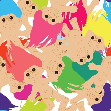 Troll Doll Toss fabric by elliottdesignfactory on Spoonflower - custom fabric