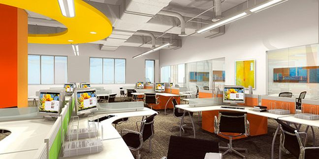 Open office space design advantages of open plan offices for Interior design for office space