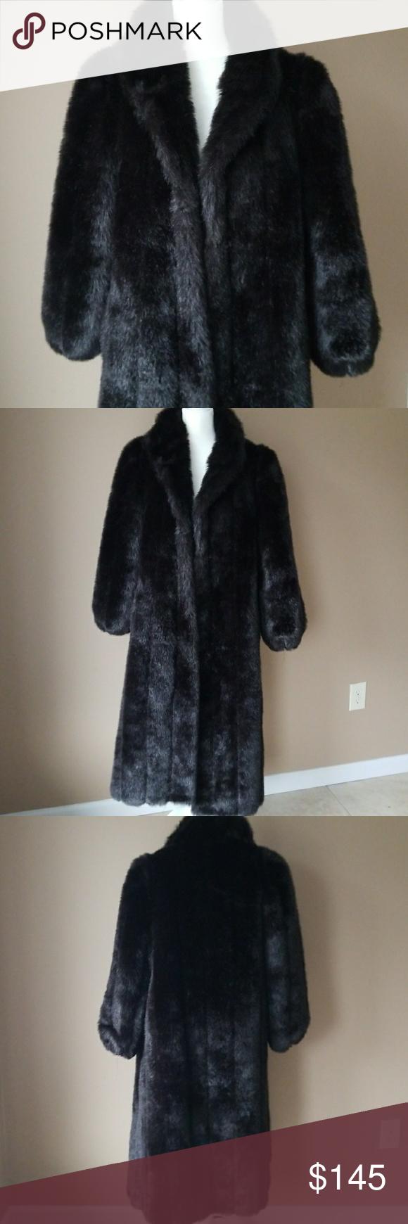 cc0d6ed9e Full Length Faux Fur Coat Luxurious black faux fur coat made in USA from  American Signature