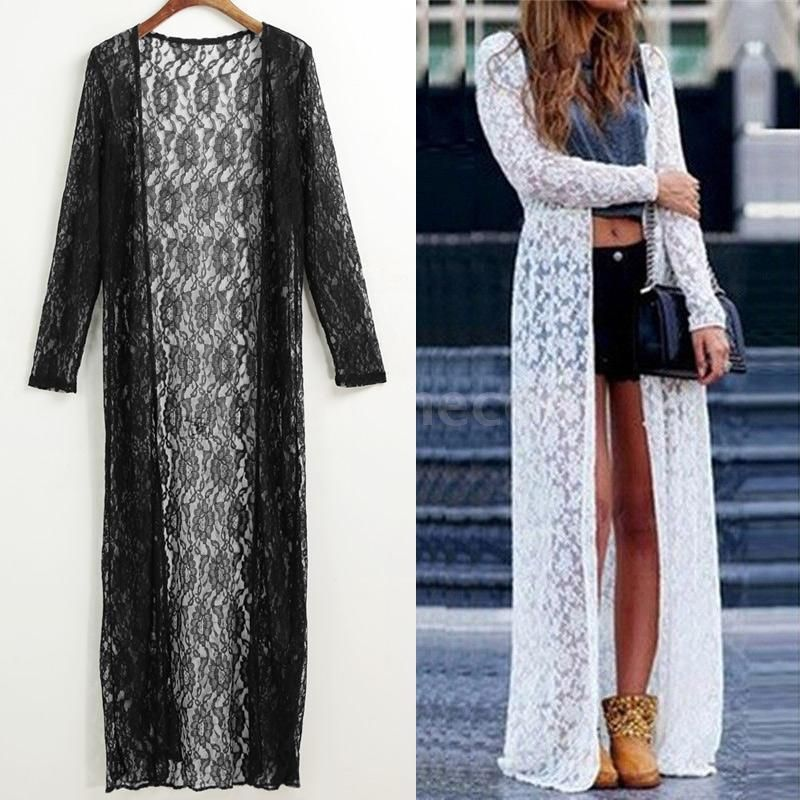 0d818486c2 Women Floral Lace Kimono Semi Sheer Plus Size Long Beach Cover Up Cardigan  Q0Q4 #UnbrandedGeneric #Blouse #Casual