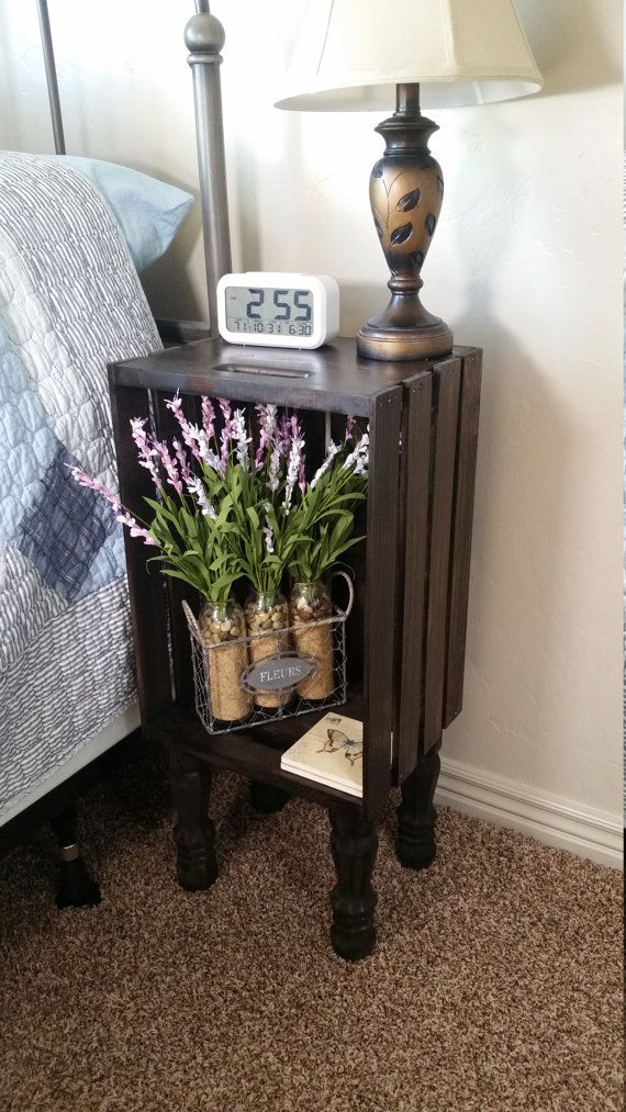 Stained wood crate bedside table nightstand end table for Wooden crate bedside table