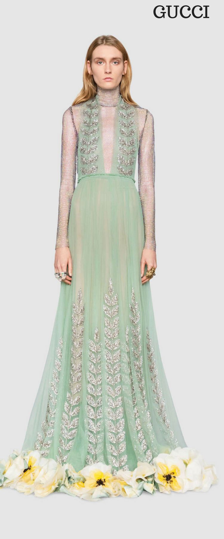 Crystal vine embroidered tulle gown. #gucci #dresses #gowns ...