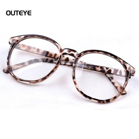 ca154956164b OUTEYE Round Plain mirror Frame Vintage Men Women Glasses Computer Eyeglasses  Frame anti-fatigue goggles Clear Lens Eyewear