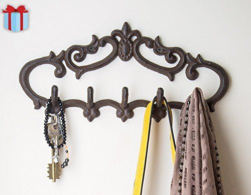 Cast Iron Wall Hanger Vintage Design With 5 Hooks Keys Towels Etc Wall Mounted Metal Heavy Duty Iron Wall Wall Hanger Decorative Wall Hooks