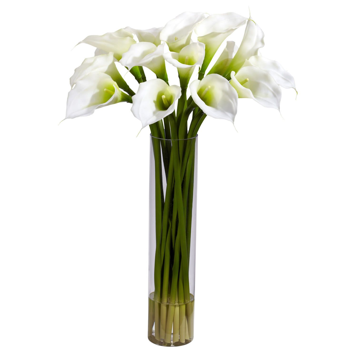 Silk Calla Lillies with Tall Cylinder Vase
