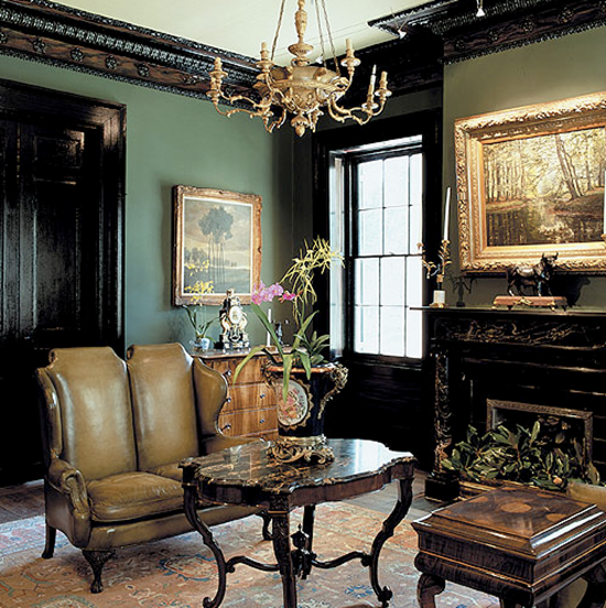 Gold Antique Accents, Mossy Green Walls, Glossy Black