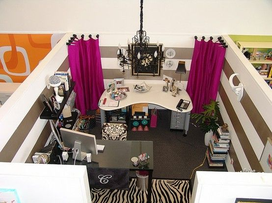 Cute Office Ideas: Seriously Awesome Cubicle. I Like The Curtains In The