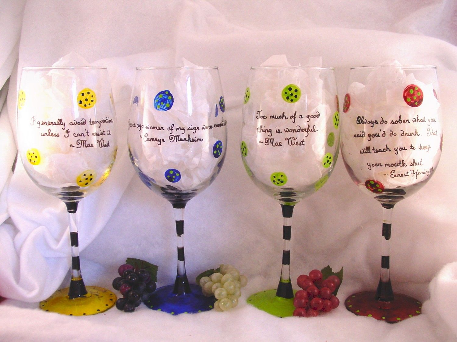 Hand painted contemporary wine glass with wine sayings by bojams, $32.00