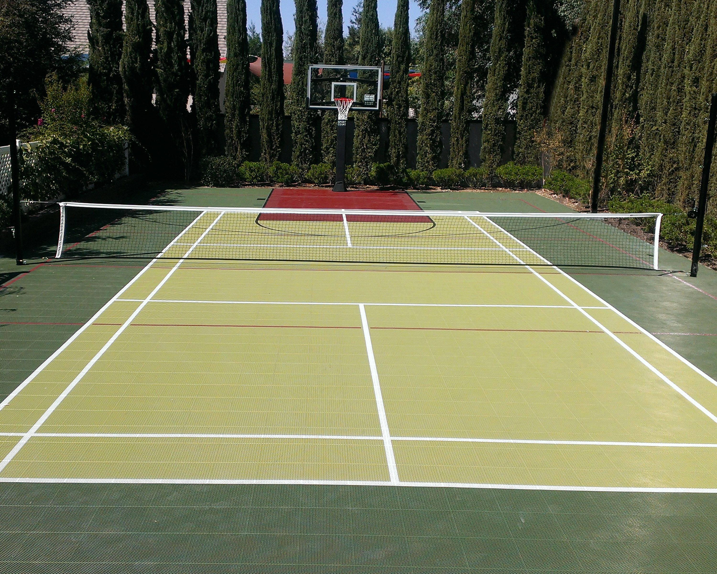 Home Tennis Court And Basketball Court Designed With Court Builder Home Basketball Court Tennis Court Backyard Basketball Court Backyard