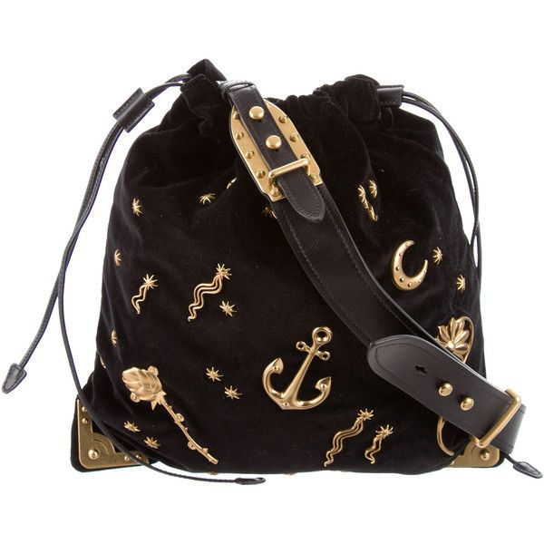 Pre-owned Prada Astrology-Embellished Large Drawstring Hobo (€1.240) ❤  liked on Polyvore featuring bags 4ed570d62872f