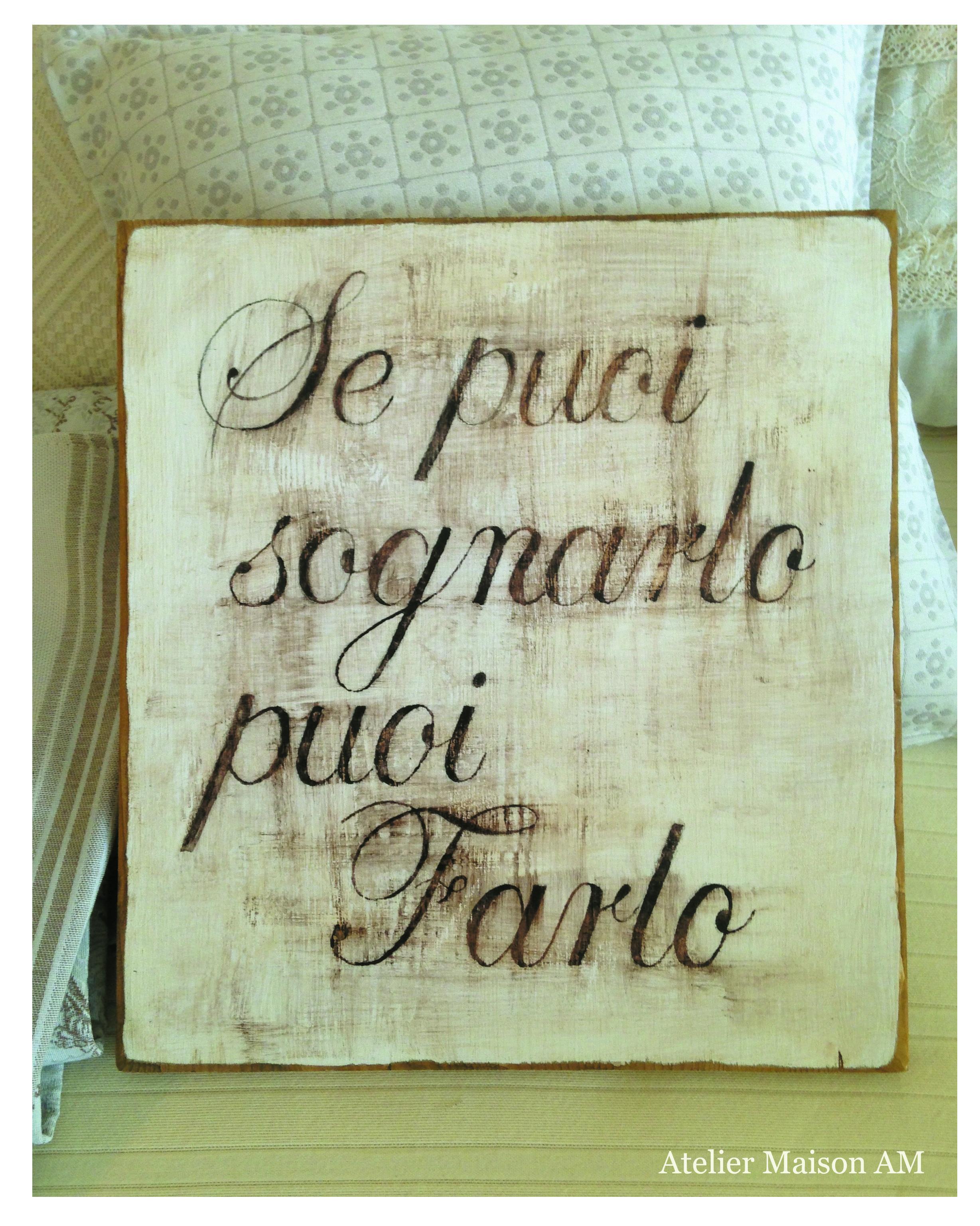 quadri in legno con frasi personalizzate