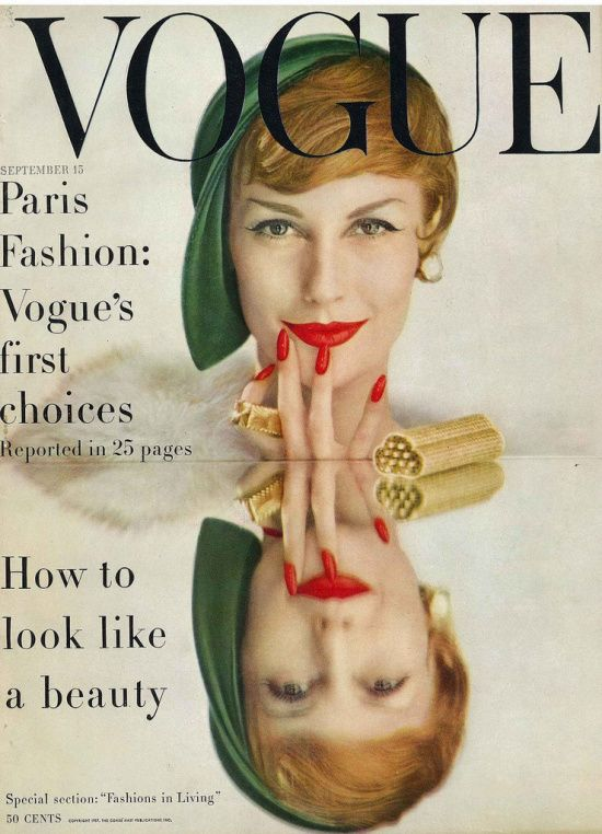 1950's model Mary Jane Russell covering September Vogue 1957