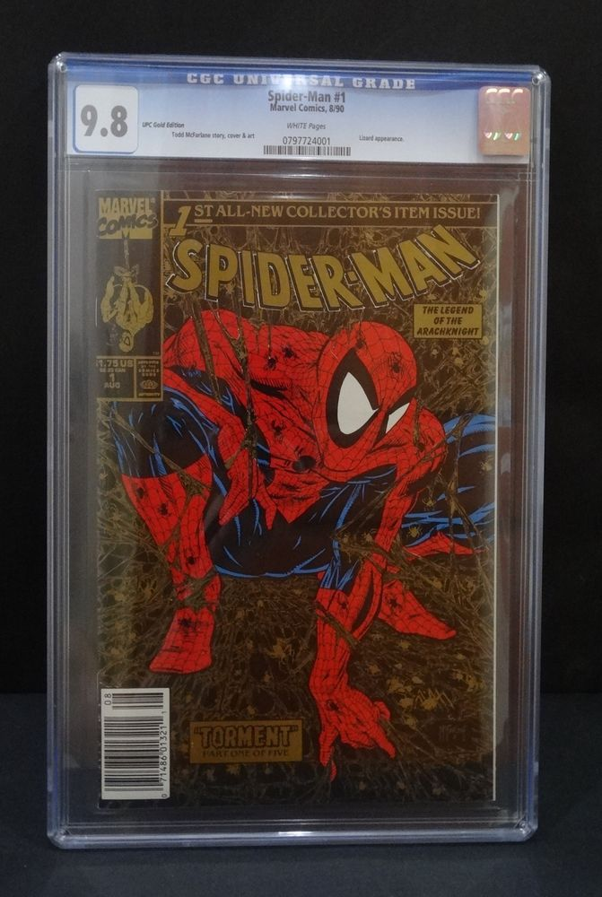 Details about 1 Spiderman #1 Gold UPC Variant CGC 9 8 Wal