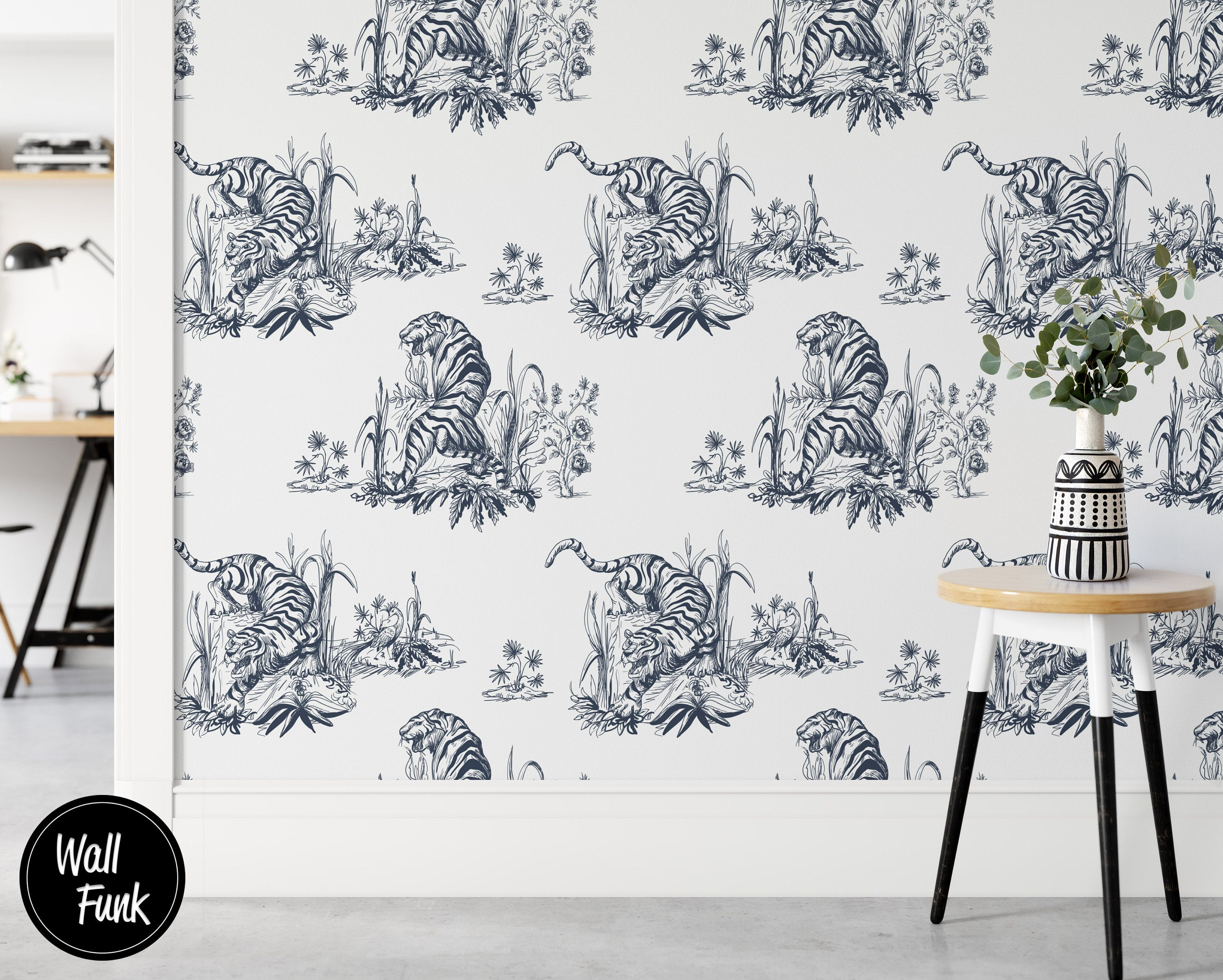 Tiger Removable Wallpaper Asian Art Wallpaper Removable Etsy Wallpaper Decor Removable Wallpaper Recycled Paper