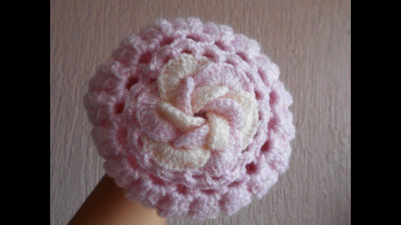 Gorro a crochet para bebe con flor 3D paso a paso  b80c899e9a6