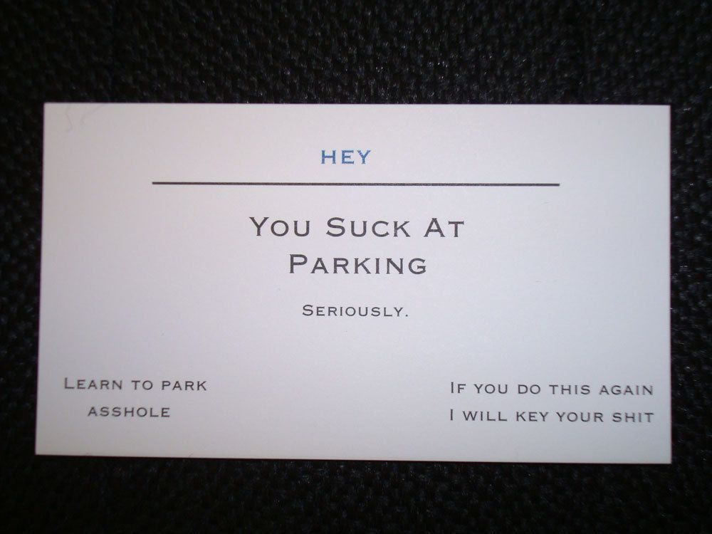 Fine Bad Parking Business Card Contemporary - Business Card Ideas ...