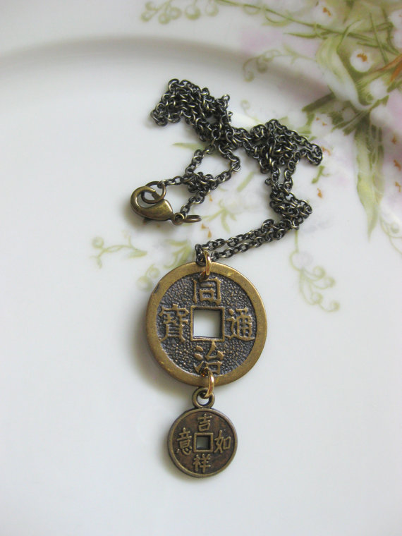 Handmade asian chinese coin pendant necklace feng shui good handmade asian chinese coin pendant necklace by susansfavourites mozeypictures Choice Image