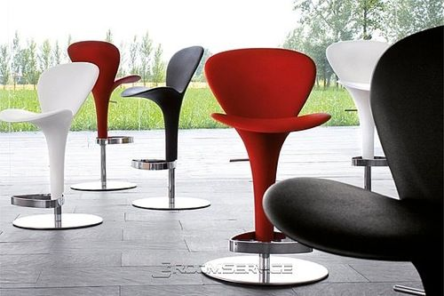 Ale Contemporary Adjustable Barstool In Black Faux Leather By