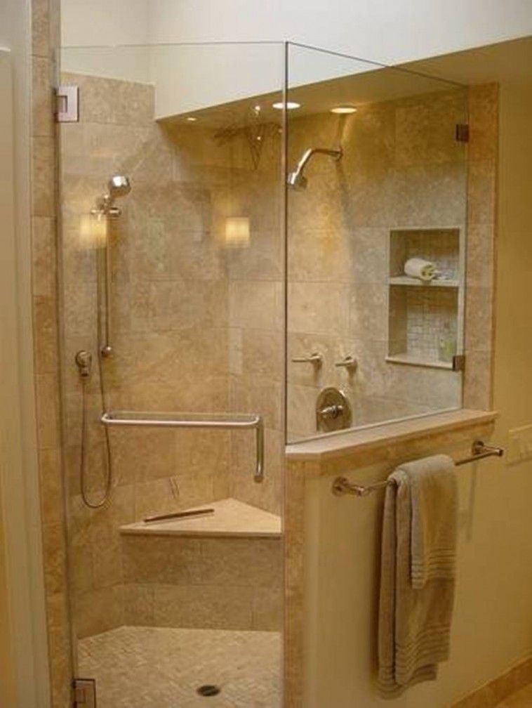 Bathroom With Corner Shower Using Tiled Floor And Wall Plus Built