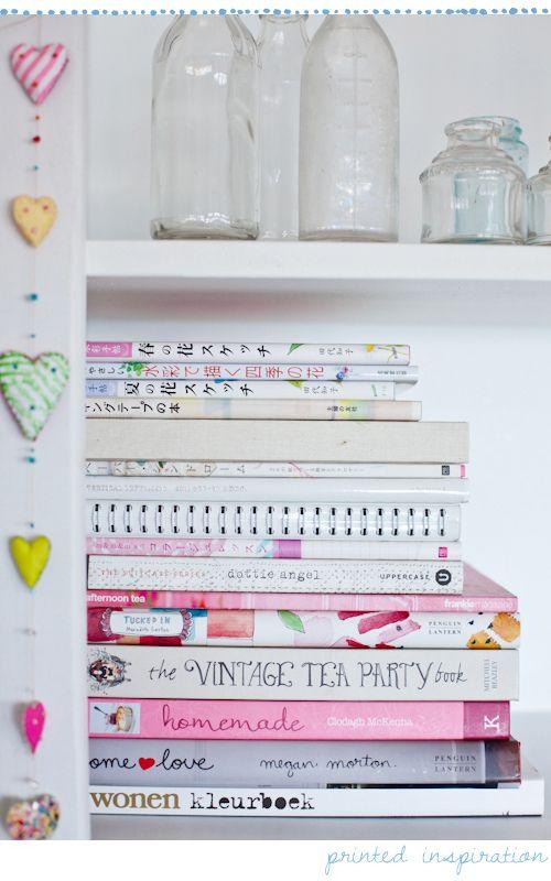 Books, glass bottles, hearts    via decor8blog.com