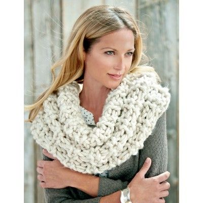 Shaker Rib Great Cowl Free Knit Pattern Yarnspirations Bernat