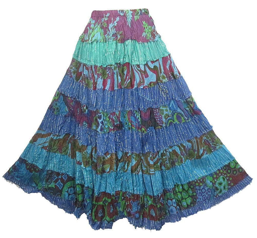 Details about Boho Hippie 9-Tier Colourful Broomstick Cotton Long ...