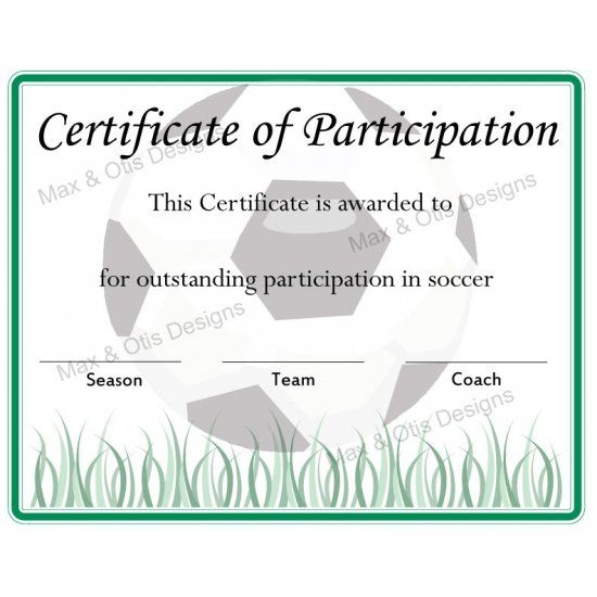 Soccer Certificate Of Participation  Now Fillable Pdf  Soccer